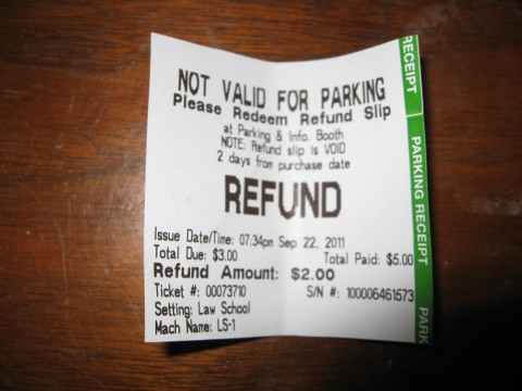 Parking refund ticket